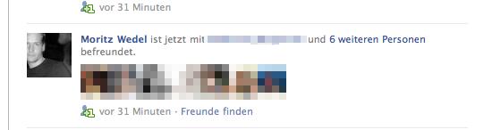 Trotz abgeschalteter Benachrichtung: Moritz neue Freundschaften werden in meinen Stream angezeigt