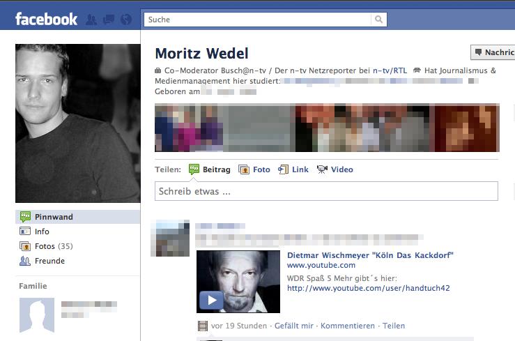 Auf Moritz' Pinnwand: Keine Spur von neuen Freundschaften