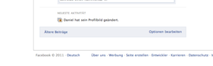 Facebook-Pinnwand Optionen